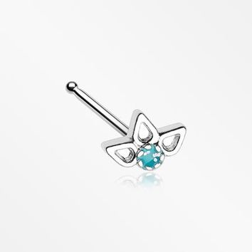 Lotus Ornate Sparkle Nose Stud Ring