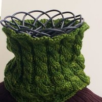 Knitted Cabled Green Cowl Neckwarmer by TrulyWoollyKnits on Zibbet
