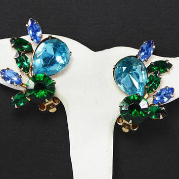 Green & Dk. Aqua Blue Rhinestone Earrings, Clip on Earrings with Riveted Construction, Vuntage 1950s Judy Lee Style Jewelry