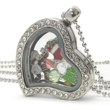 Heart Charm Locket Necklace for Christmas