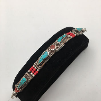 1pc, Nepalese Red Coral & Green Turquoise Inlay Statement Boho Bracelet, NPB89