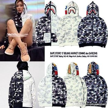 Tide Brand Men's Shark Hooded Camo Sweater Jacket Men Women Camouflage Plus Cashmere Sweater Hoodie