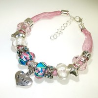 European Charm Beaded Leather Friendship Bracelet - Niece