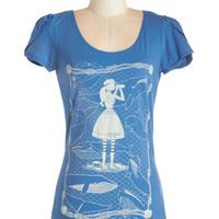 Nautical Mid-length Short Sleeves Whale of a Time Top