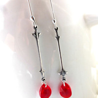 Red Swarovski crystal and silver earrings.