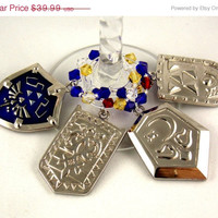 Legend of Zelda inspired sword and shield wine charms Set of 11 videogame charms handmade wine charms party wine