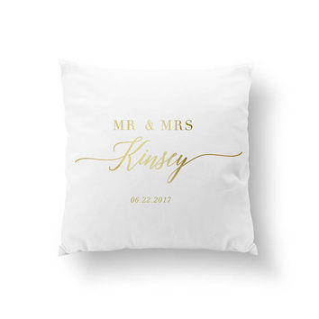 Mr & Mrs Surname Pillow, Wedding Decor, Typography Pillow, Home Decor, Wedding Pillow, Gold Pillow, Cushion Cover, Throw Pillow, Bed Pillow