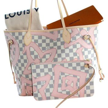 "Louis Vuitton Rose Ballerine Neverfull w/pouch 5287 ""NWT"" (Authentic Pre-owned)"