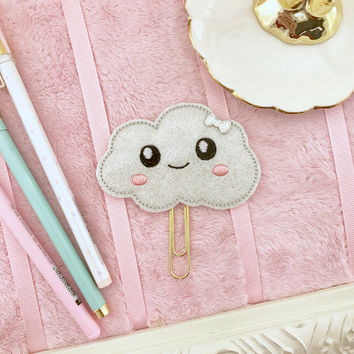 Large Sparkly Kawaii Cloud Embroidered Felt Planner Clip | Paperclip Page Marker | Textbook Cookbook Bible Bookmark