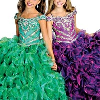 Y&C Girls Crystal Floor Length Sleeveless Ruffled Ball Gown Pageant dresses
