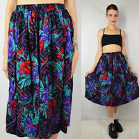 90s Tropical Floral Skirt Med Tea Length Dress Soft Grunge Hipster Long Vintage Womens Clothing Black Red Purple Elastic Waist High Waist