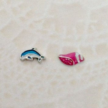 Floating charms for living lockets  Blue Dolphin ... Pink shell