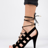 Lace Up Open Toe Heels - 6.5