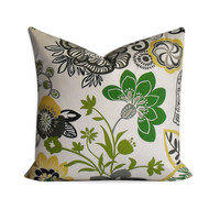 Decorative Pillow Cover - Floral Green, Brown, Chatreause and Taupe  - SAME Fabric BOTH SIDES - Invisible Zipper