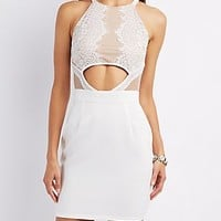 CUT-OUT LACE BODYCON DRESS