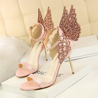 2018 Shoes With Wings High Heels Female Shoes Heels Butterfly Crastal Sexy  Heels Shoes Woman Sandals Slingback Golden Heels