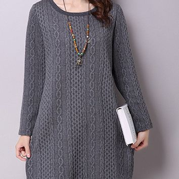 Streetstyle  Casual Faux Knit Cotton/Linen Shift Dress