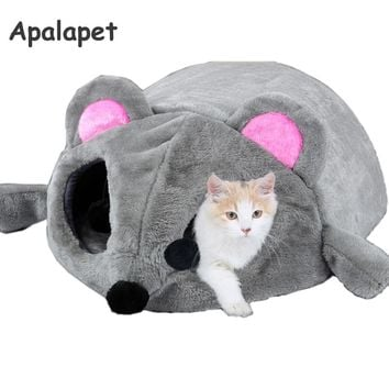 Grey Mouse Shape Bed For Small Cats Dogs Cave Bed Removable Cushion,Waterproof Bottom Cat House Mouse For Cats