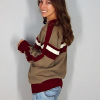 Vintage Fall Sweater, Sporty Striped 70s Pull Over, Vintage Jumper, Khaki Maroon, Small Medium Large