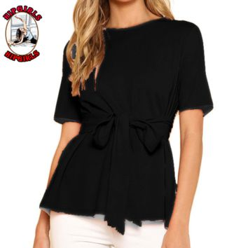 New fashion solid color shorts sleeve top Black