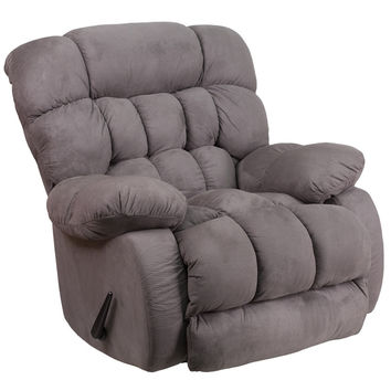 Contemporary Softsuede Graphite Microfiber Rocker Recliner