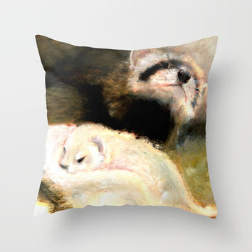 Ferret Mommy (c) 2017 Throw Pillow by Belette Le Pink