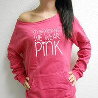 On Wednesdays We Wear Pink Eco Fleece Sweatshirt. Mean Girls Sweatshirt. Off Shoulder Sweatshirt. Raw Edge Off Shoulder Eco-Fleece.