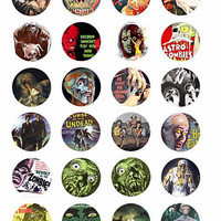 printable zombies undead ghouls digital downloadable collage sheet clipart 1.5 inch circles movie posters DIY jewelry making pendant images