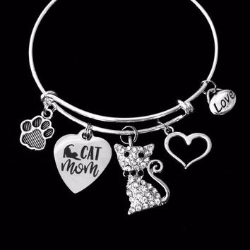 Cat Mom Charm Bracelet Crystal Cat Silver Expandable Adjustable Bangle Cat Lover Jewelry One Size Fits All Gift
