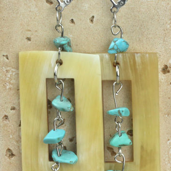 Horn earring with turquoises scales. NS-110