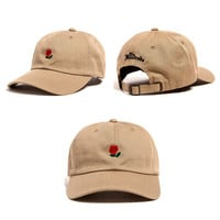 Khaki Flower Baseball Caps Adjustable Sports Snapback