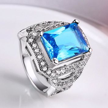 Tuker Luxury White Square Ring Fashion White & Blue Silver Filled Jewelry Men Wedding Rings For Women Birthday Stone Gifts