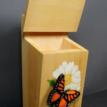 Post box Wooden Gift Carved Butterfly Monarch Butterfly Sculpture OOAK by Vladimir Davydov,Orange, Black, Wall Art, Unique carving  room