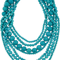 Kenneth Jay Lane - Gold-plated beaded turquoise necklace