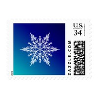 Snowflake on Blue Postage