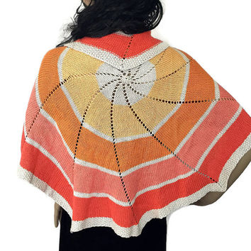 Outlander Scottish Sunset Circle Cotton Shawl Claire Knitted Diana Gabaldon - Coral