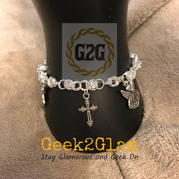 Angels Angel and Cross Chainmail Chainmaille Bracelet Religious Inspirational Christian Jewelry