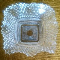 Vintage Clear Indiana Glass Diamond Point Ruffled Candy Dish