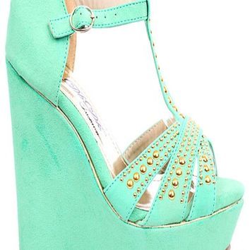 GREEN FAUX SUEDE STUDDED T-STRAP PLATFORM WEDGE HEELS