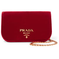 Prada - Wallet On A Chain velvet shoulder bag
