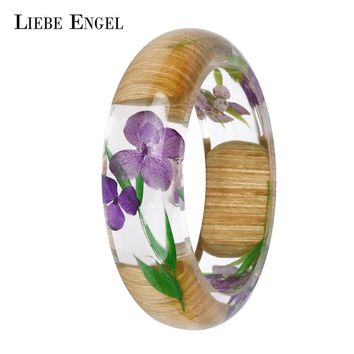 LIEBE ENGEL NEW Charm Wood Resin Bangle Bracelet With Real Dried Flower Cuff Love Bracelet For Women Indian Jewelry Handmade