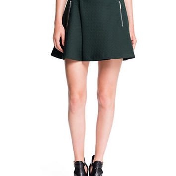 1 State Quilted Houndstooth Mini Skirt