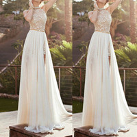 Lace Long Chiffon Bridesmaid Evening Formal Party Cocktail Dress Gown Prom NS