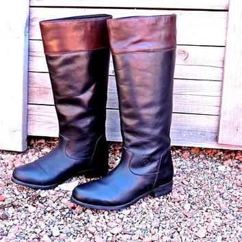 Womens Ariat Riding boots size 7 / Tall leather boots / equestrian / black brown genuine leather /  knee high boots