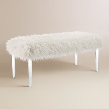 Faux Flokati Upholstered Bench