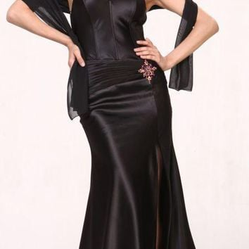 Black Collar Halter Dress Satin Formal Open Slit Sexy Full Length Gown