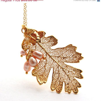 SALE Real Gold Leaf Necklace Freshwater Pink Pearl Pendant Necklace Lacey Oak Leaf Light Pink Pearl Vermeil 24k Gold Plated Jewelry