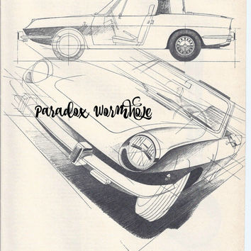 Vintage 1969 60's Fiat 850 Spider Print Advertising Wall Art Decor Man Cave Car