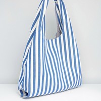 ASOS Stripe Slouchy Woven Shopper Bag at asos.com
