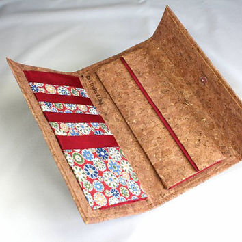Woman Wallet, Cork wallet, Bordeuax flower fabric plain fabric wallet, Large woman wallet